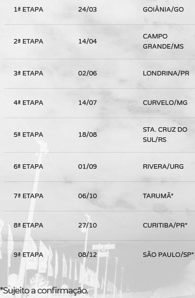 Calendário 2019 Copa Truck
